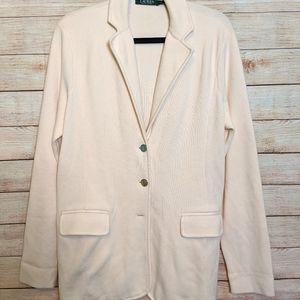 Ralph Lauren ivory sweater jacket  size XL